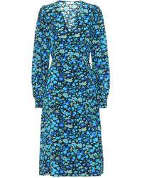 Ganni Wickelkleid aus Seidenmischung in Azurblau