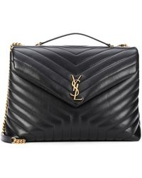Saint Laurent Loulou Large Leather Shoulder Bag - Black