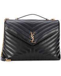 Saint Laurent Loulou Large Leather Shoulder Bag - Black