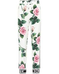 Dolce & Gabbana Floral High-rise Trackpants - White