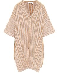 Chloé Wool And Mohair-blend Hooded Poncho - Natural