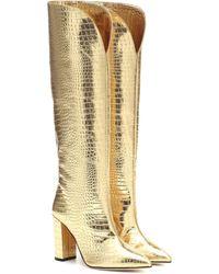 Paris Texas Croc-effect Leather Knee-high Boots - Metallic