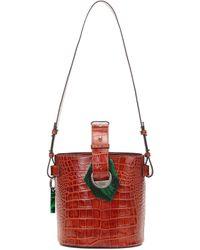 Ganni Croc-effect Leather Bucket Bag - Red