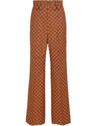 Gucci Pantalones rectos GG Multicolor de jacquard - Naranja
