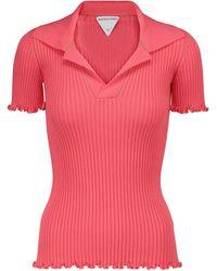 Bottega Veneta Ribbed-knit Cotton Polo Shirt - Pink