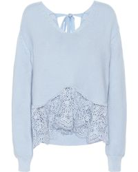 Stella McCartney Crochet-paneled Cotton Jumper - Blue