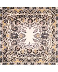 Etro Paisley Silk Square Scarf - Natural