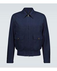 Lardini Zipped Cotton-blend Jacket - Blue