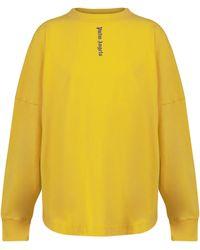 Palm Angels Camiseta de punto fino con logo - Amarillo