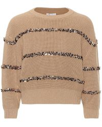 Brunello Cucinelli Pullover Dazzling Stripes in cotone - Neutro