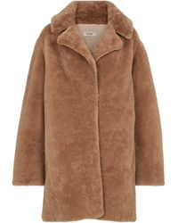 Yves Salomon Meteo abrigo de borrego - Marrón