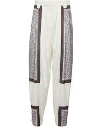 Magda Butrym Pantalones tapered seda elástica print - Blanco