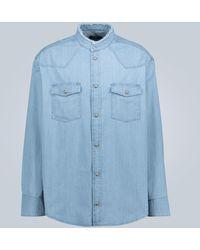 Balmain Chemise en jean effet vieilli - Bleu