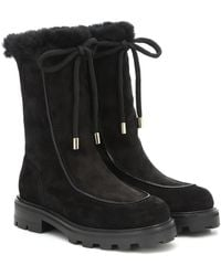 Jimmy Choo Buffy Shearling-trim Suede Boots - Black
