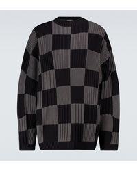 Balenciaga Jersey acanalado a cuadros - Negro