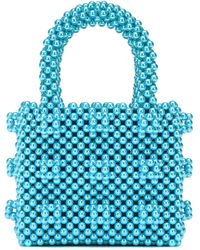 Shrimps Antonia Mini Beaded Tote - Blue