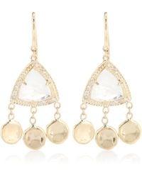 Jacquie Aiche Aretes de piedra lunar, diamantes y oro de 14 ct Dia - Multicolor