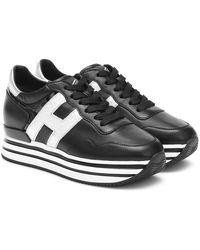 Hogan Scarpe sneakers donna in pelle h222 - Nero
