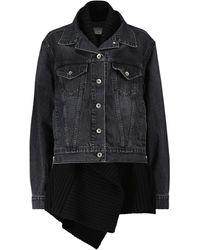 Sacai Knit-trimmed Denim Jacket - Black