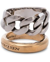 Alexander McQueen - Chain-trimmed Ring - Lyst