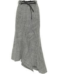 Tom Ford Asymmetric Houndstooth Virgin Wool Skirt - Grey