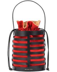 Rejina Pyo Erin Drawstring Leather Bucket Bag - Red