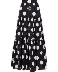 Dolce & Gabbana Polka-dot Cotton Maxi Skirt - White