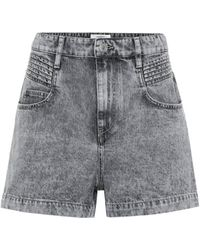 Étoile Isabel Marant Hiana Acid-wash Denim Shorts - Gray