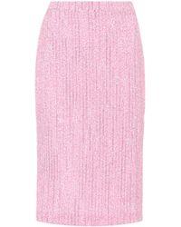Alessandra Rich Tweed Pencil Skirt - Pink