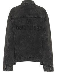 Balenciaga Logo Denim Jacket - Multicolour