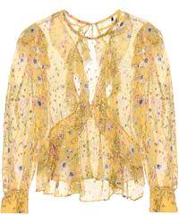 Isabel Marant Blusa con motivo floral y volantes - Amarillo
