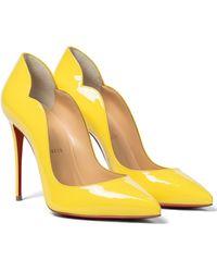 Christian Louboutin Salones Hot Chick 100 de charol - Amarillo