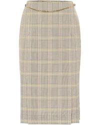 Victoria Beckham Checked Virgin Wool Skirt - Natural