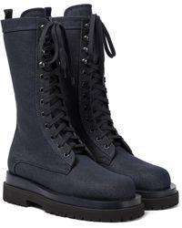 Magda Butrym Denim Combat Boots - Blue