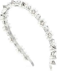 Simone Rocha Cerchietto con cristalli e perle - Metallizzato