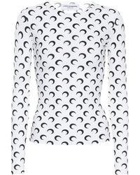 Marine Serre Top imprimé en jersey stretch - Blanc