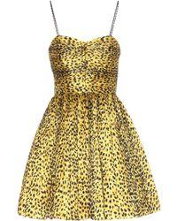 Saint Laurent - Leopard-print Plisse Fit-and-flare Dress - Lyst
