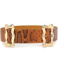 Rejina Pyo Cinturón Luna de piel efecto pitón - Naranja