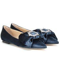 Jimmy Choo Slippers Gilly Flat en velours - Bleu
