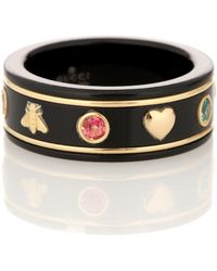 Gucci Icon 18kt Gold Ring With Gemstones - Black
