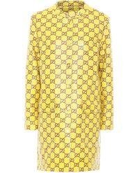 Gucci GG Coated Tweed Coat - Yellow