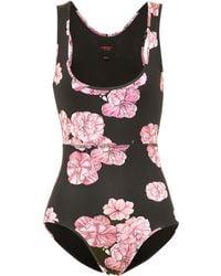 Giambattista Valli Floral One-piece Swimsuit - Black