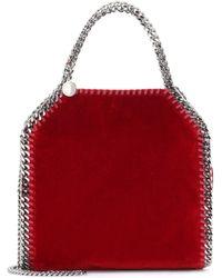 Stella McCartney - Red Velvet Small Tote Falabella Cross Body Bag - Lyst