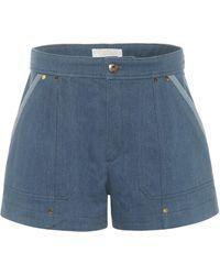 Chloé Mid-rise Denim Shorts - Blue