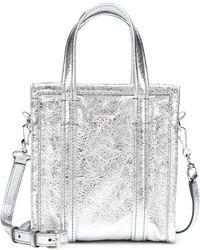 Balenciaga Silver Bazar Shopper Small Leather Tote Bag - Metallic
