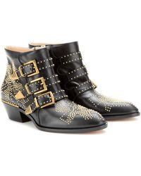 Chloé Boots Susanna Nappa Leather Black Rivets Gold