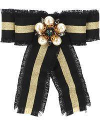 Gucci Web Grosgrain Bow Brooch - Black