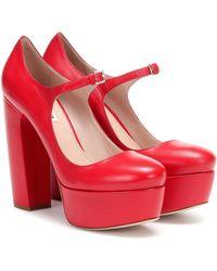 Miu Miu Leather Mary Jane Platform Pumps - Red