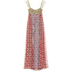 Valentino Vestido de fiesta de seda estampado - Rojo