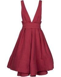 Brock Collection Vestido corto Quesyn de lino - Rojo